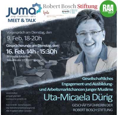 Einladung zum Meet & Talk mit Frau Uta-Micaela Dürig von der Robert Bosch Stiftung
