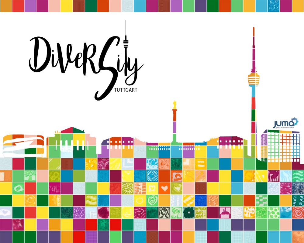 Das größte Mosaik der Vielfalt in Stuttgart im Rahmen der DiverCity Kampagne von JUMA